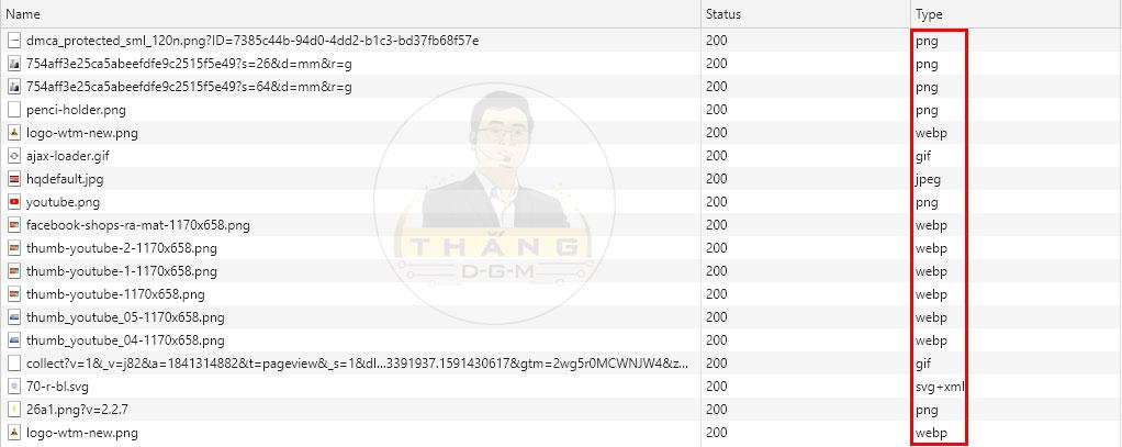 Hình ảnh website định dạng webp chuẩn Google